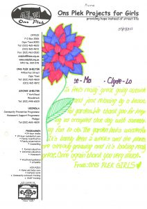 OnsPlek Projects thank you letter
